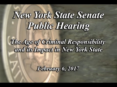 Public Hearing - The Age of Criminal Responsibility and its Impact in New York State - 02/06/17