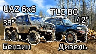 UAZ 6x6 vs marine engine Land Cruiser in clay hell
