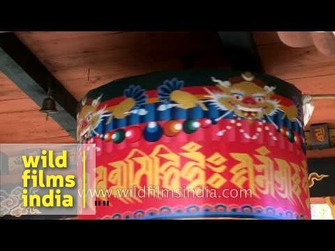 Kyichu Lhakhang Buddhist prayer wheels in Paro, Bhutan
