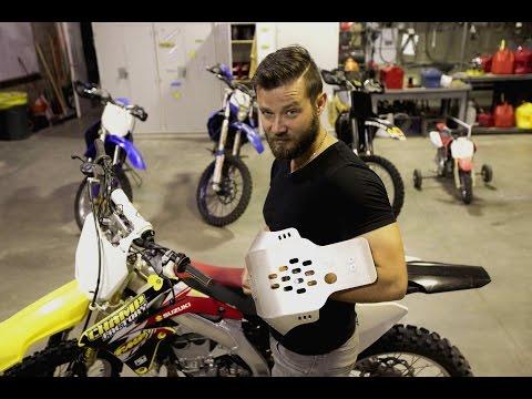 How to install skid plate and case saver on Suzuki RMZ 450, Dirt bike mods