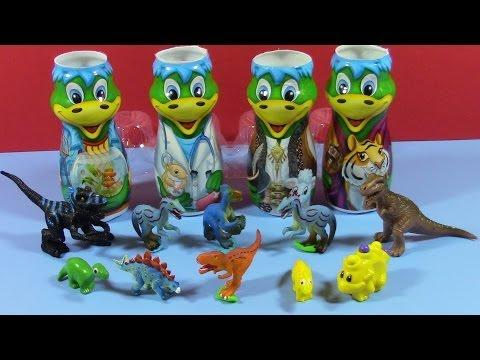Danonino Dinosaurs Collection and Play Doh Surprise Eggs коллекция динозавра