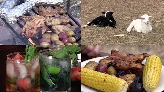 Cowboy Campfire Cooking - Chicken Thighs, Potato Kabobs and Corn on the Cob (Episode #411)