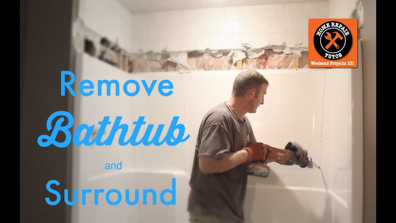 How to remove a fiberglass bathtub and surround by home for Can you put a tv in the bathroom