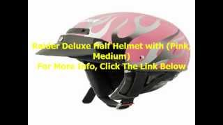 Raider Deluxe Half Helmet with (Pink, Medium)