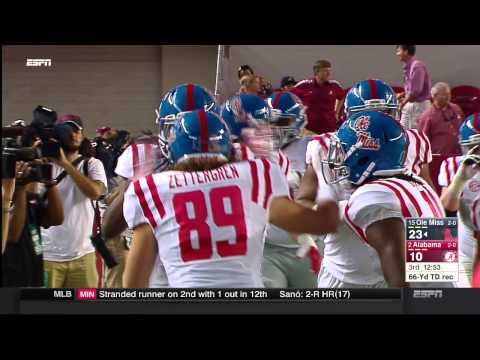 HD - Ole Miss crazy carom touchdown catch at Alabama