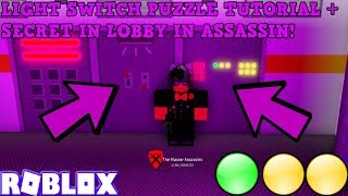 LIGHT SWITCH PUZZLE IN NEW LOBBY TUTORIAL + SECRET BEHIND BIG DOOR! (ROBLOX ASSASSIN) *QUEST 2 OF 3*