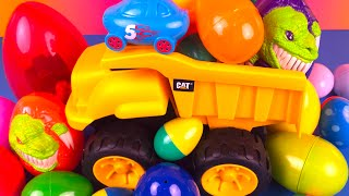 Surprise Easter Eggs construction toys dump trucks matchbox disney cars cinderella rapunzel