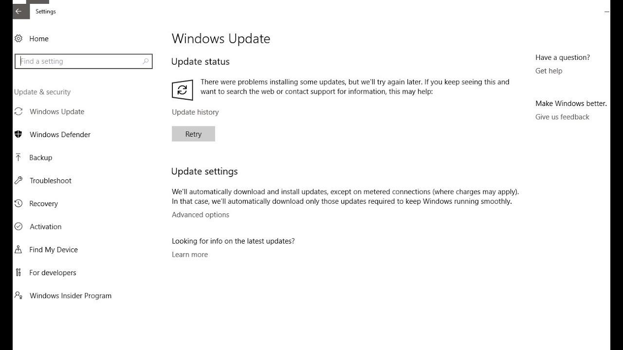windows 10 auto update registry settings
