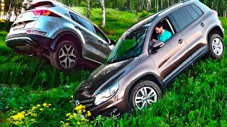 KIA Sportage против Volkswagen Tiguan Сравнение и оффроад Киа Спортейдж и Фольксваген Тигуан 2016 смотреть