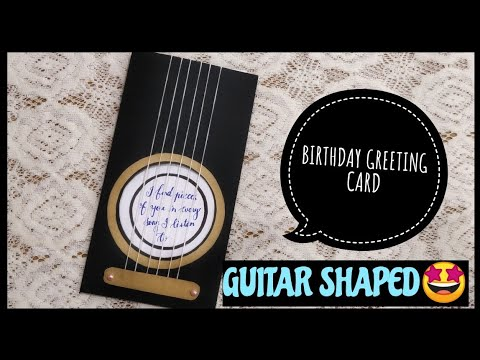 DIY birthday greeting card idea/birthday gift ideas handmade/guitar greeting card for music lovers