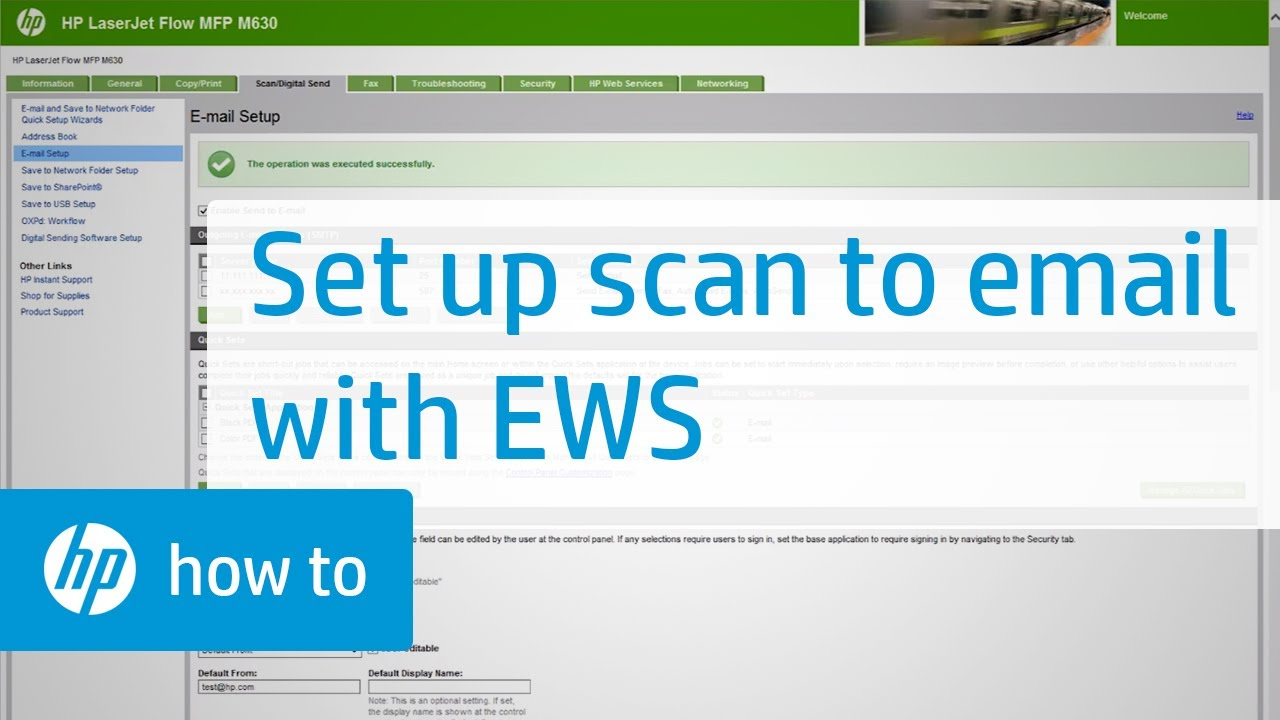 Set Up Scan to Email Using the HP Embedded Web Server | HP Printers | HP