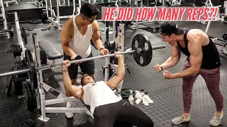 135lb BENCH PRESS REP CHALLENGE PART 2 | HOW MANY REPS?!