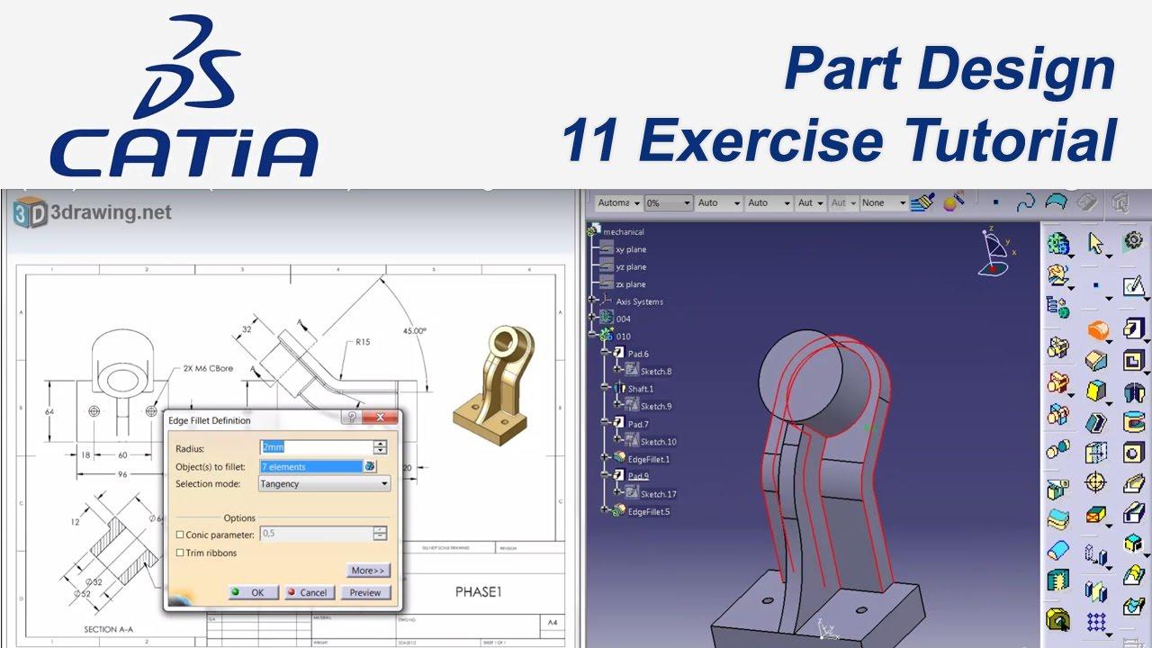 catia v5 e itim 44 11 examples tutorial part design youtube. Black Bedroom Furniture Sets. Home Design Ideas