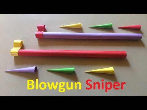 Origami Easy and Strong blowgun with Sniper | How to make a paper blowgun with sniper