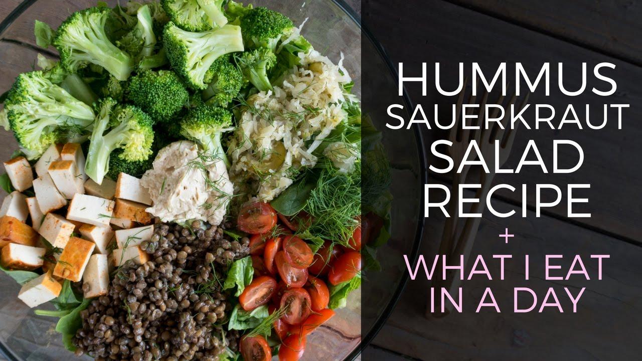 Hummus Sauerkraut Salad Recipe // What I Eat In A Day Vegan
