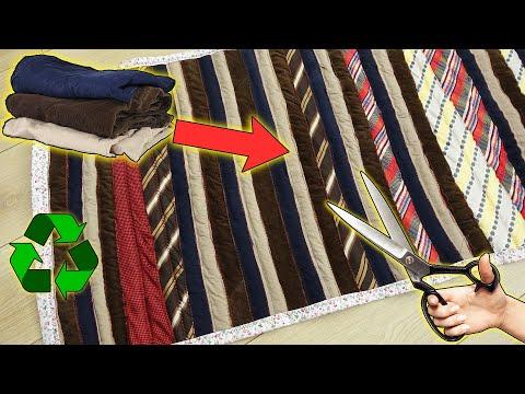 ESKİ PANTOLONLAR VE KRAVATLAR İLE KIRKYAMA YOLLUK! / Patchwork Rug With Old Trousers And Ties / Idea