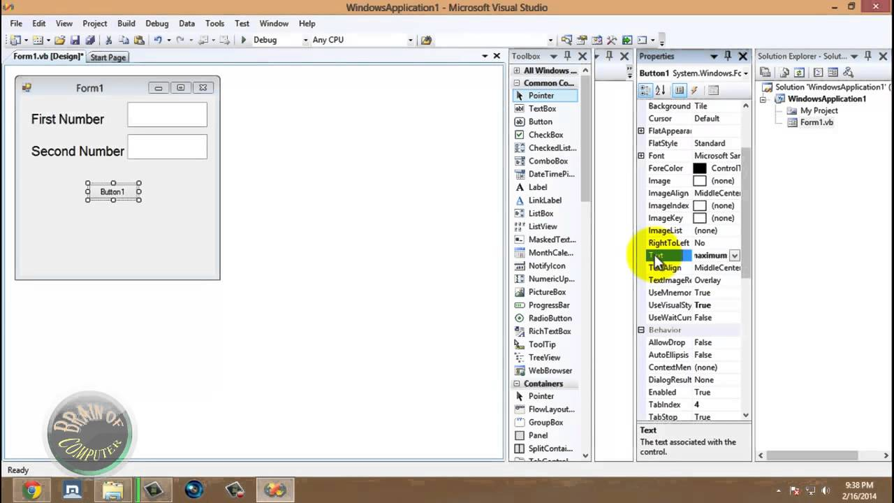 Program In Visual Basic To Calculate Area Of Circle