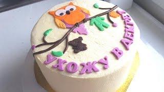 Бисквитный торт с клубникой. Крем чиз для торта. Фигурки из мастики для торта