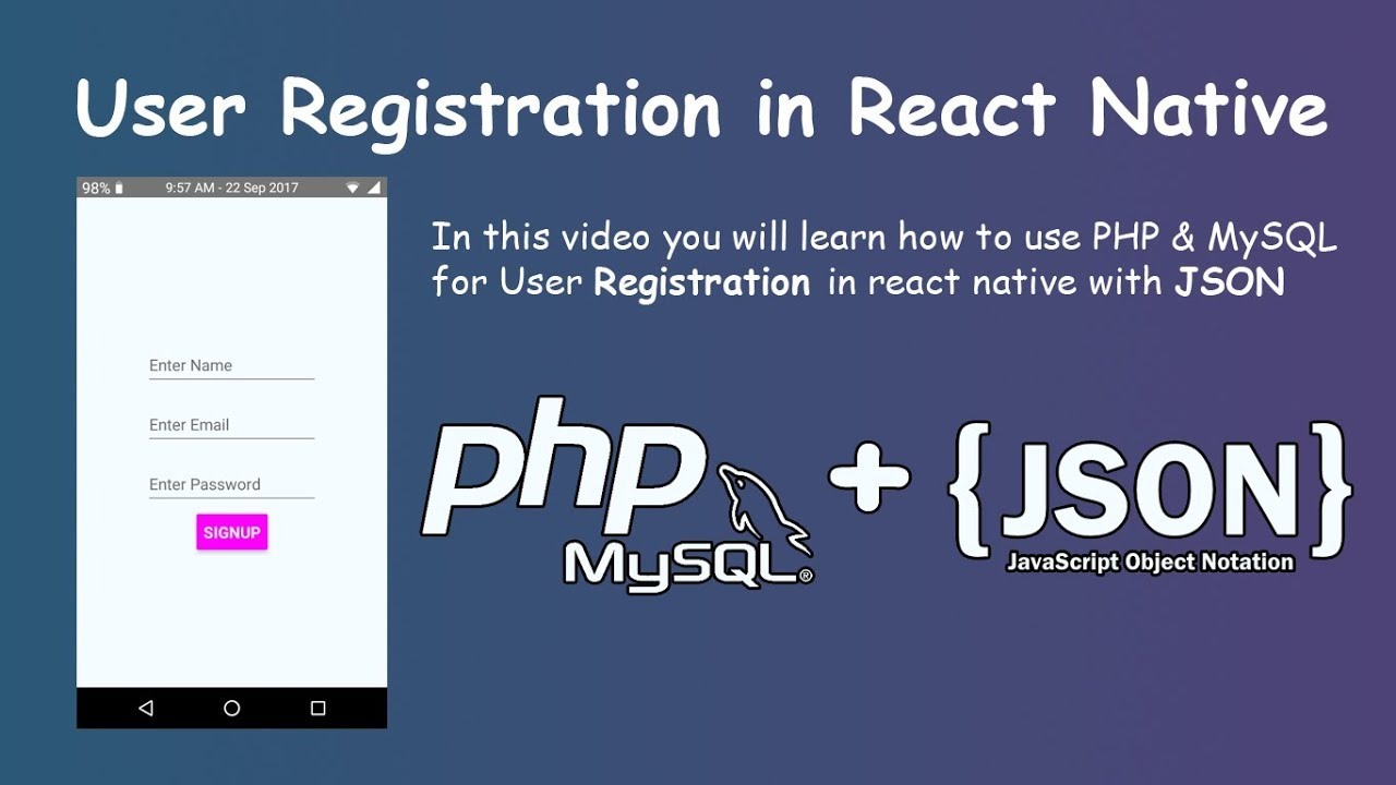 User Registration with PHP & MySQL in React Native || Insert Data with Json