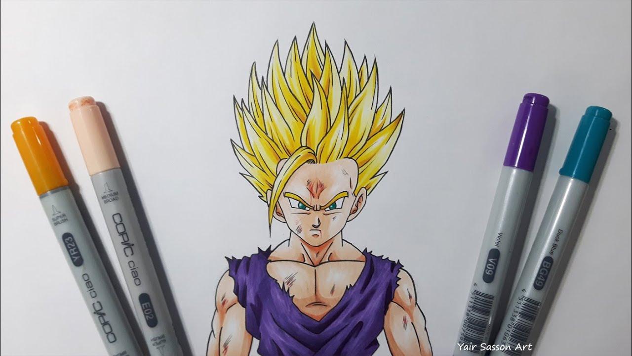 drawing gohan super saiyan 2 ssj2 youtube