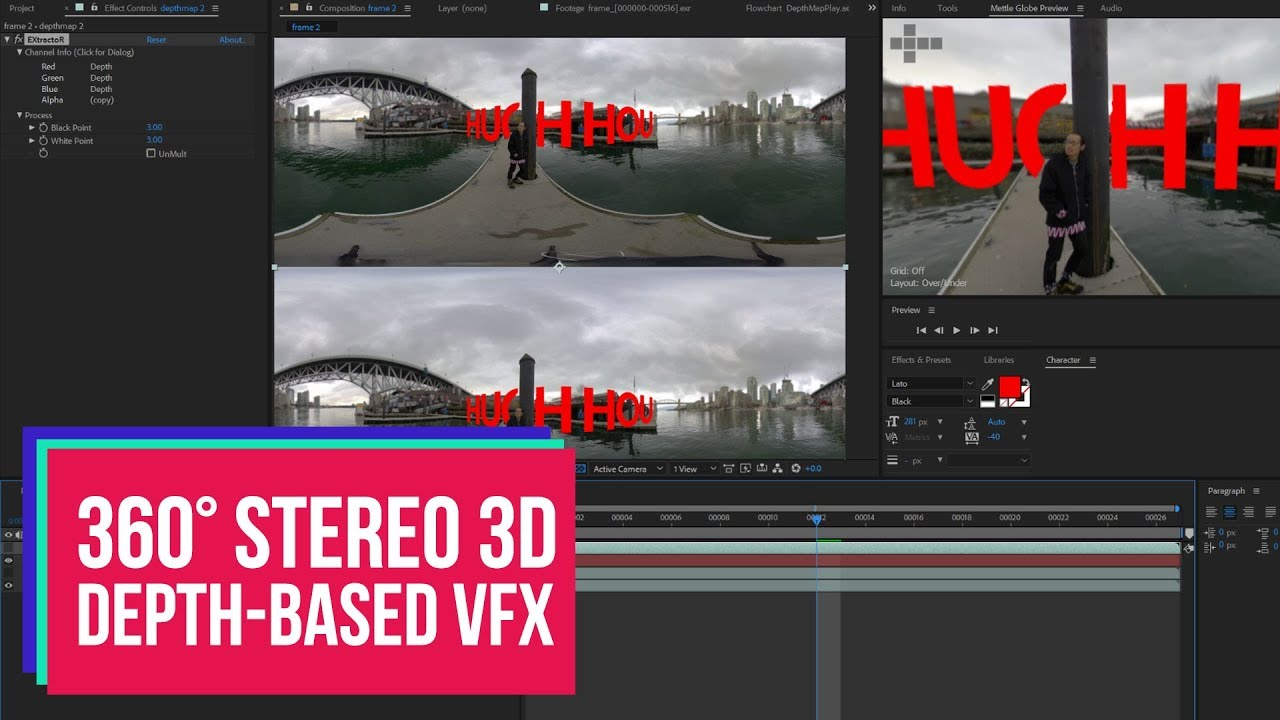 360 Stereoscopic 3D Video Depth-based VFX tutorial with Kandao Obsidian VR  Camera and After Effects