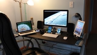Ultimate Tech Bedroom/ Desk Tour | Gaming Setup | Desk Setup 2013 | Entrainment System | GeeksRoom
