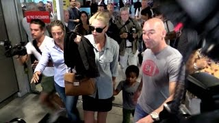 Download EXCLUSIVE: Charlize Theron and her son Jackson arriving in Cannes festival