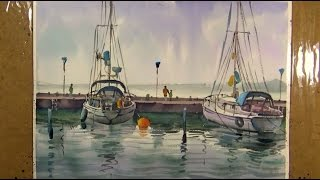 Watercolor Painting : The Boats on Sea