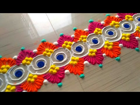 Creative and awesome border rangoli designs/beautiful border rangoli designs by jyoti Rathod
