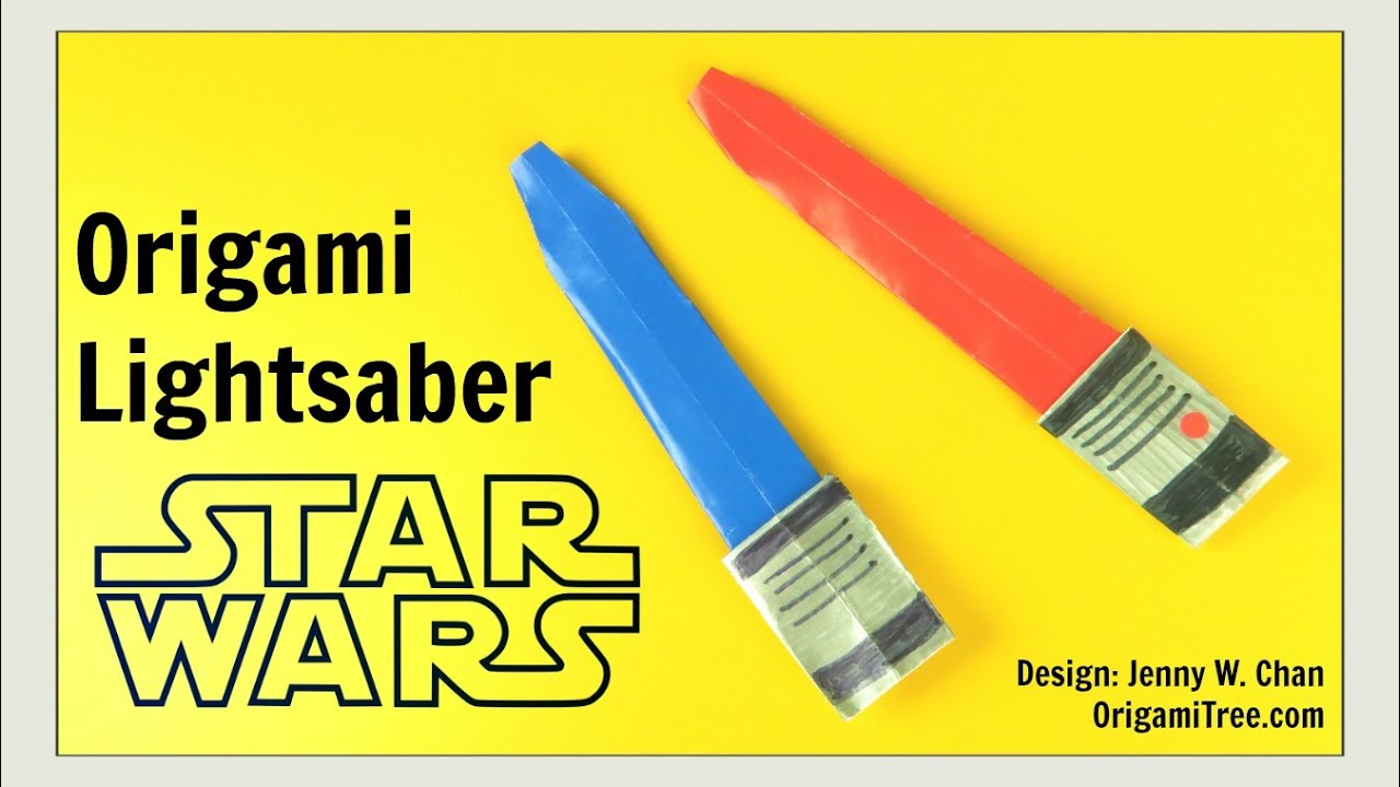 Star Wars Crafts - Origami Lightsaber - Star Wars Origami - DIY ... for How To Make A Lightsaber For Kids  585hul