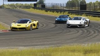 Battle Ferrari LaFerrari vs Porsche 918 Spyder vs McLaren P1 Racing at Zandvoort
