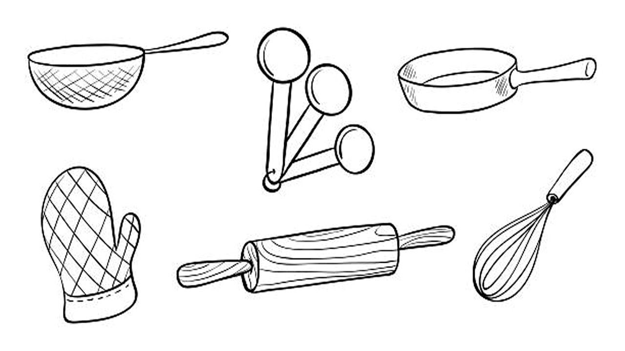 Coloring Pages-How to Draw Baking Tools Set for Kids