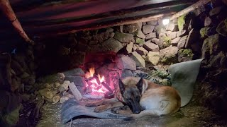 Survival Skills - Overฑight Bushcraft Winter Camping in my Stone Shelter, Campfire Cooking, Diy