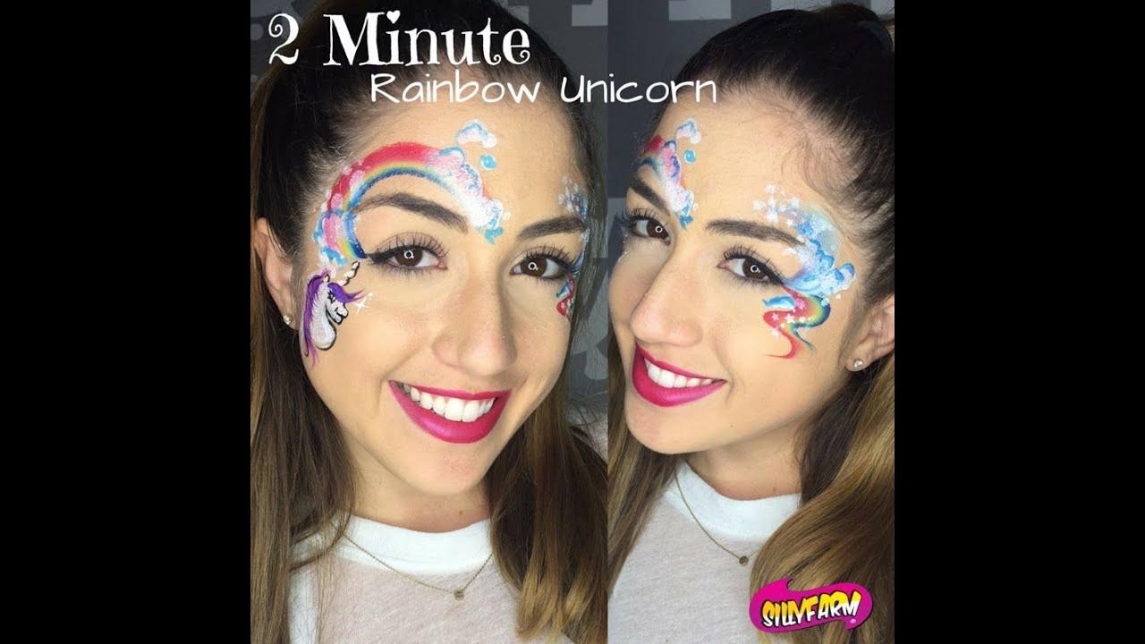 2 minute rainbow unicorn face painting design youtube