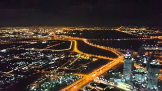 Dubai night view from at the top burj khalifa 2016