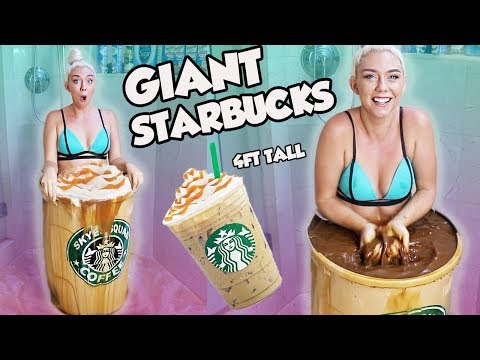JUMPING INTO A REAL GIANT STARBUCKS ICED COFFEE! WORLDS LARGEST STARBUCKS ICED COFFEE!