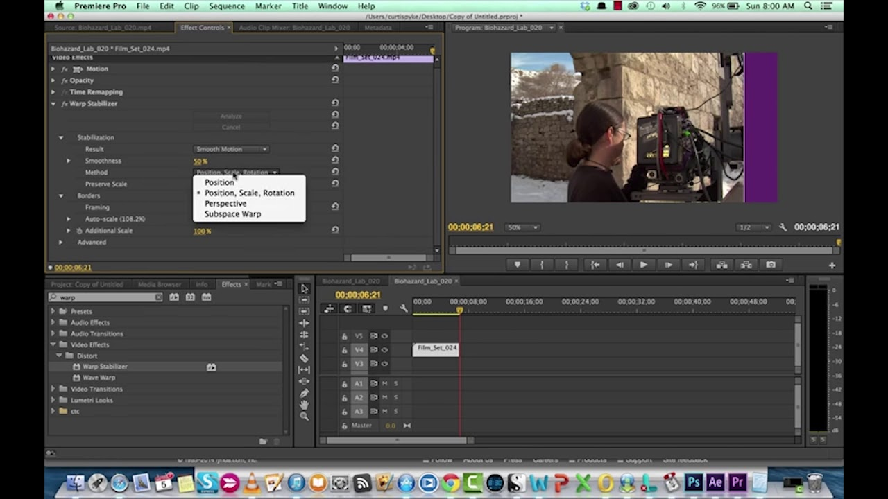 How to remove camera shake with Adobe Premiere Pro CC - Warp Stabilizer