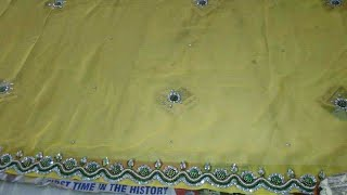 Store and Kundan work apply on saree at home !! Velvet cutting work!! New design