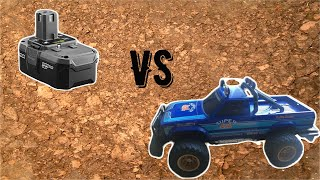 1980's RC Truck vs 18V lithium-ion battery - Who Will Win??