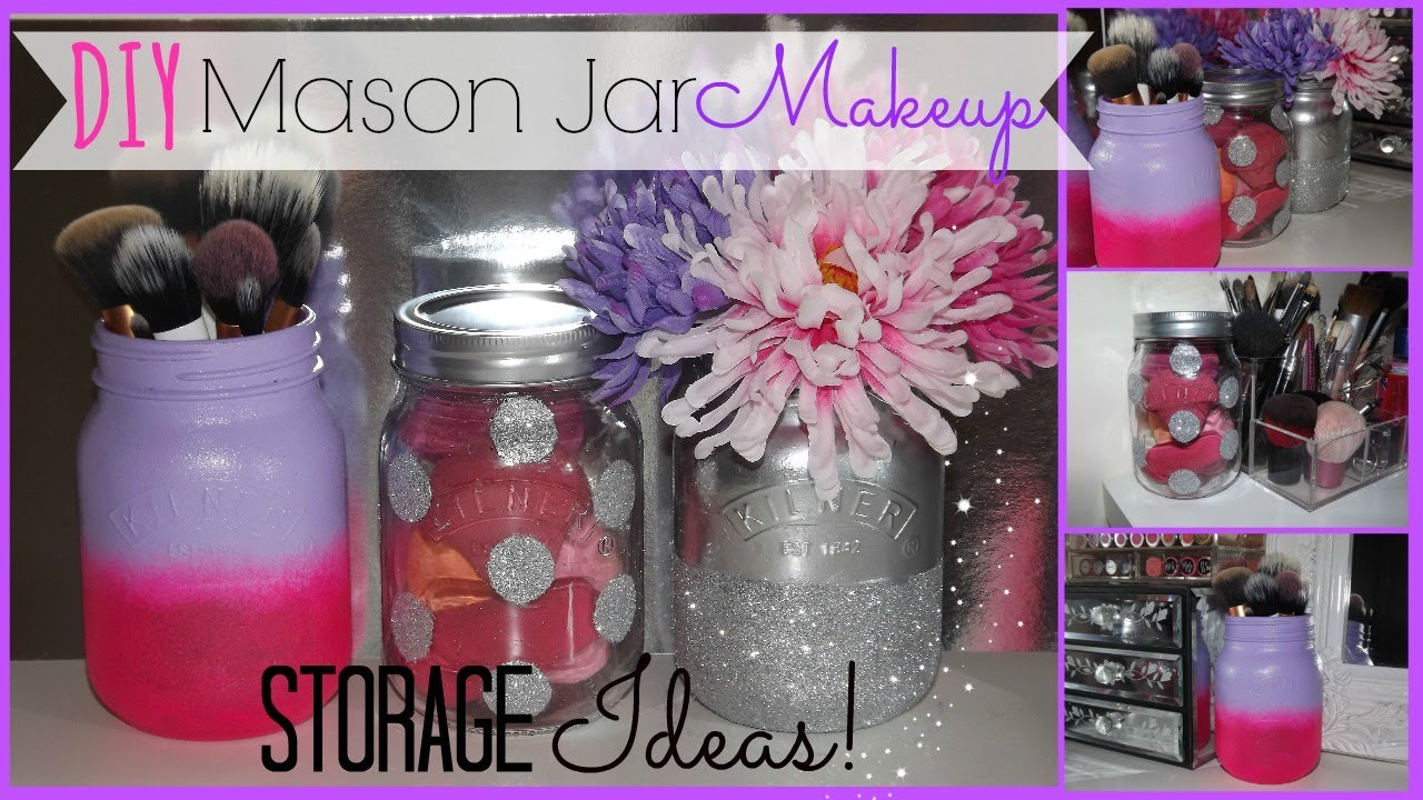 DIY Mason Jar Makeup Storage Ideas    YouTube