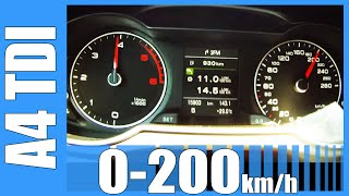 Audi A4 2.0 TDI 0-200 Km/h NICE! Acceleration Beschleunigung Test Autobahn