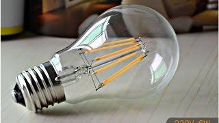 Светодиодная лампа FILAMENT 6W обзор - 1я часть(Обзор светодиодной ламы FILAMENT Смотрите продолжение: https://www.youtube.com/watch?v=vBnGLmjlAcc Видео про распаковку: https://www.youtub., 2015-05-08T02:07:35.000Z)