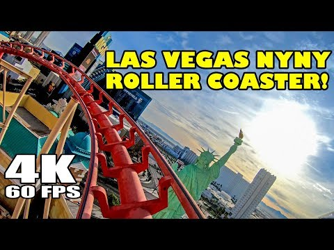 Manhattan Express Big Apple Roller Coaster 4K 60FPS NYNY Las Vegas Hotel Casino Front Seat POV