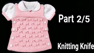How to Knit Smart Frock/ Round Collar/Puff Sleeves for 6-9 months Baby Girl/ Part 2/5. English/Hindi