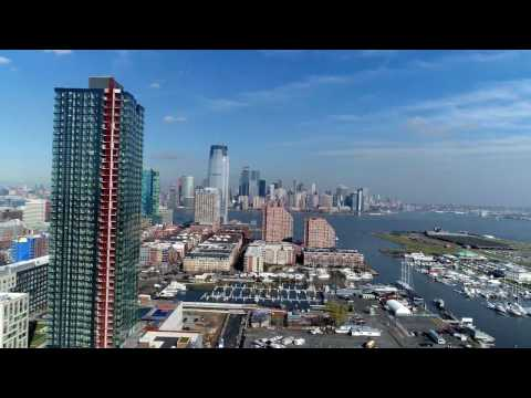 Aerial Footage of Jersey City and Manhattan Island New York City