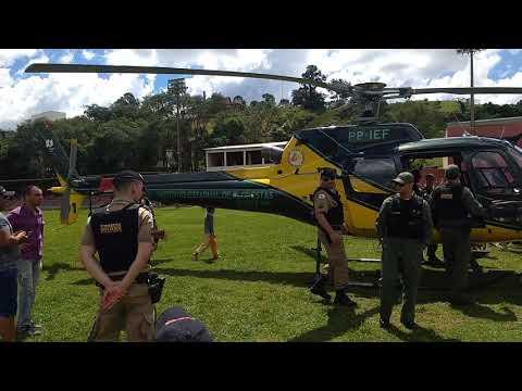 Helicóptero do IEF pousa no campo de futebol de IPUIÚNA.