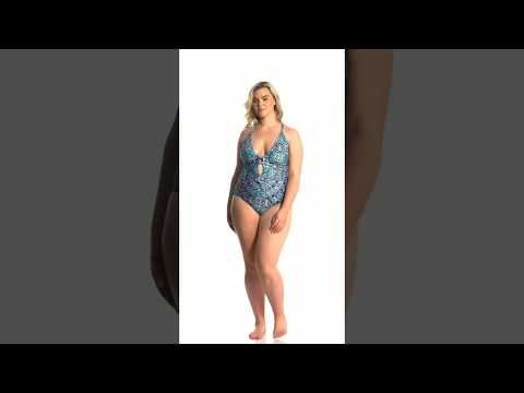 La Blanca Plus Size Tuvalu Tapa Lingerie One Piece Swimsuit
