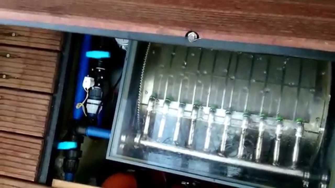 koi teich schwerkraft anlage mit eigenbau trommelfilter ammerland biofilmreaktor youtube. Black Bedroom Furniture Sets. Home Design Ideas