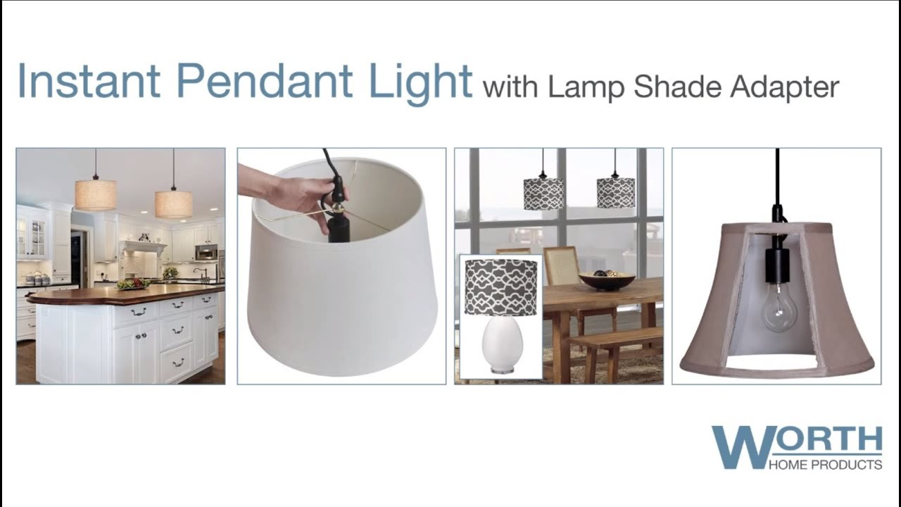 Worth home products lamp shade pendant conversion kit youtube worth home products lamp shade pendant conversion kit aloadofball Image collections