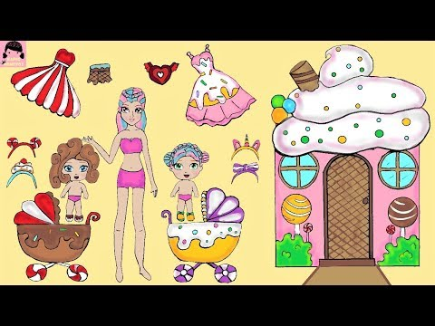PAPER DOLLS MOTHER & DAUGHTER CANDY DRESSES HANDMADE PAPER CRAFTS